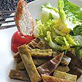 Nuggets, frites de légumes et soupe de cerises