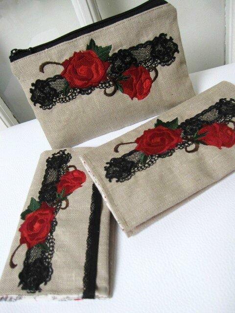 ensemble lin brodé dentelle et fleurs 021bis