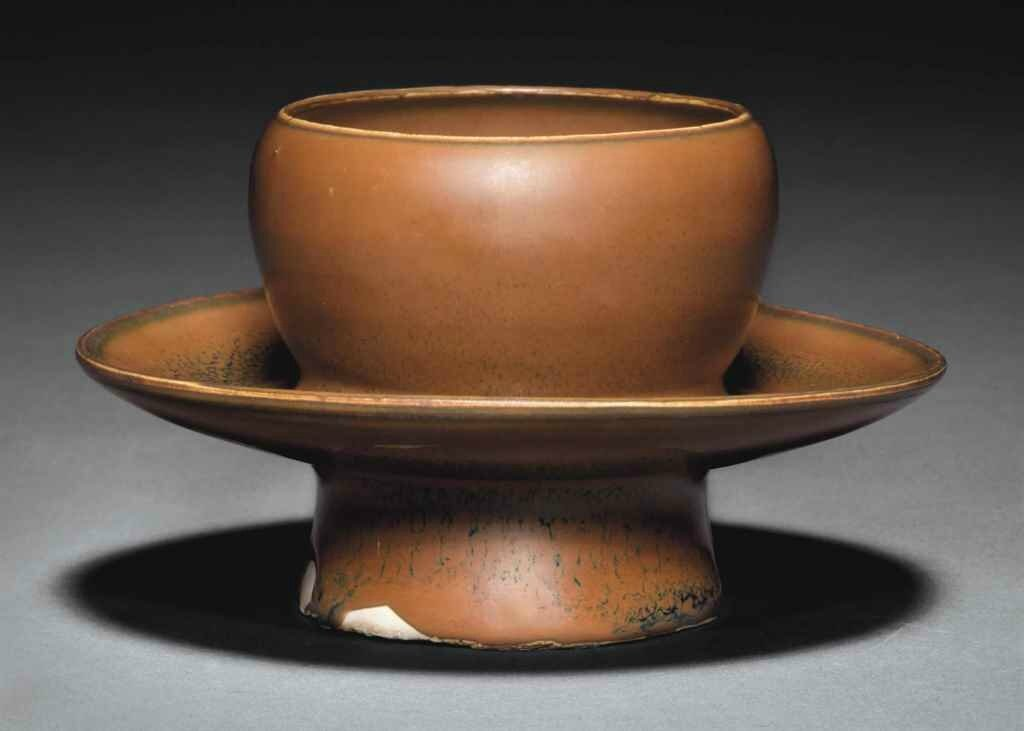 A Yaozhou russet-brown-glazed cup stand, Northern Song dynasty, 11th-12th century