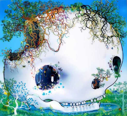 Chiho Aoshima, The fountain of the skull, color photograph, plexiglass, aluminum. 61 x 66,5 in. / 155 x 169 cm