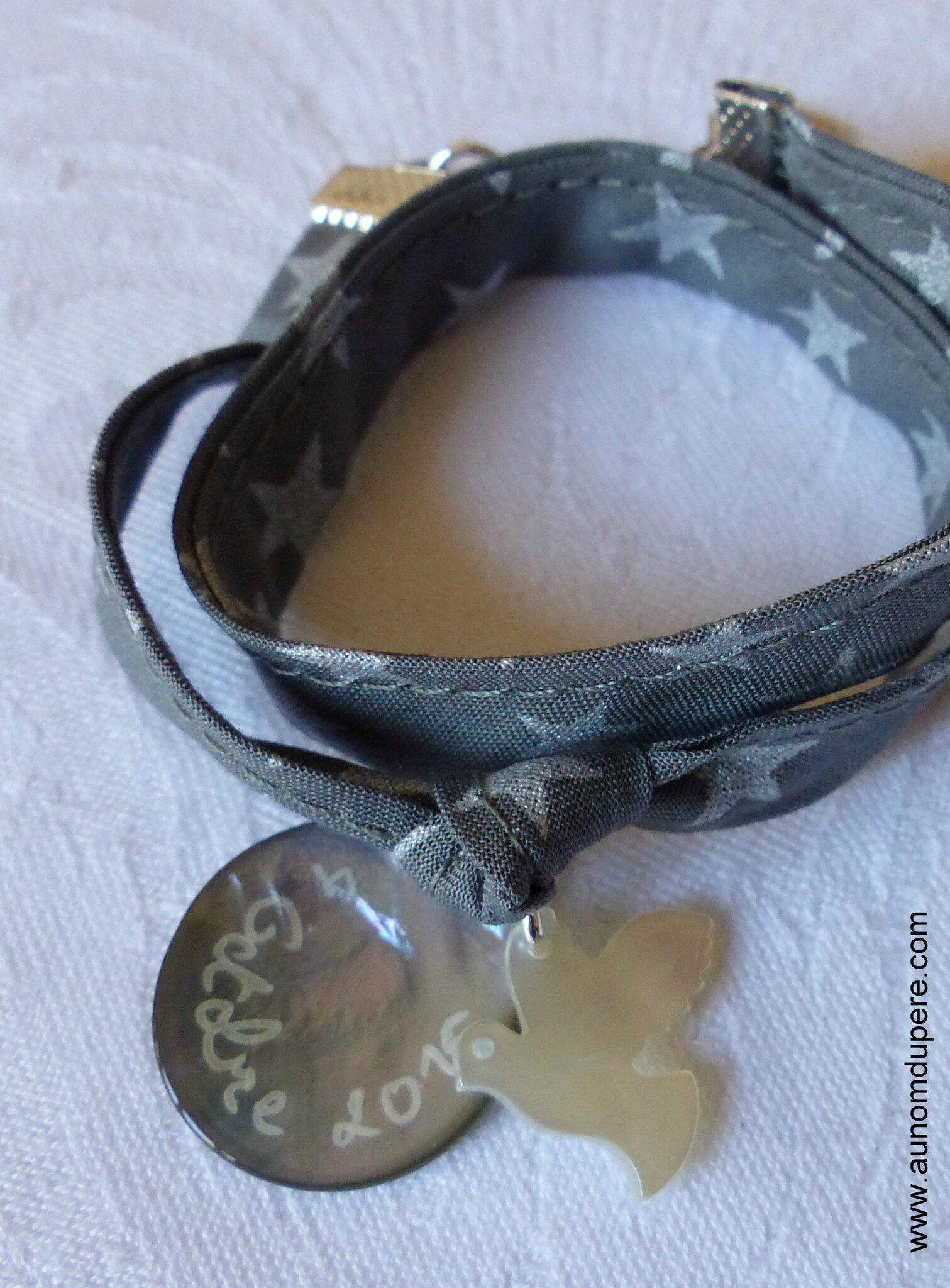 Bracelet sur ruban double tour médaille et colombe en nacre