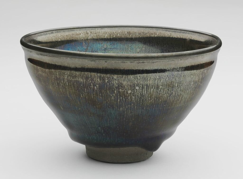 Tea Bowl with Indented Lip and Silvery Brown Hare's-Fur Markings, Song dynasty, 12th-13th century