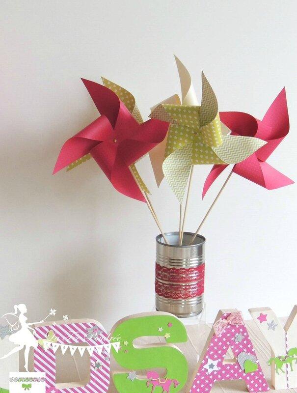 moulins a vent decoration chambre enfant bapteme anniversaire mariage fuchsia vert anis lettres prenom decorees