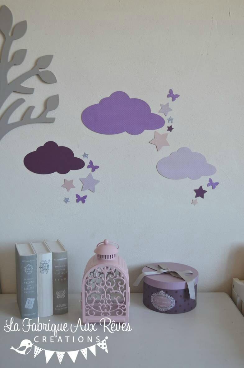 stickers nuage étoiles papillons mauve violet parme gris rose poudré - décoration chambre bébé mauve violet gris rose poudré