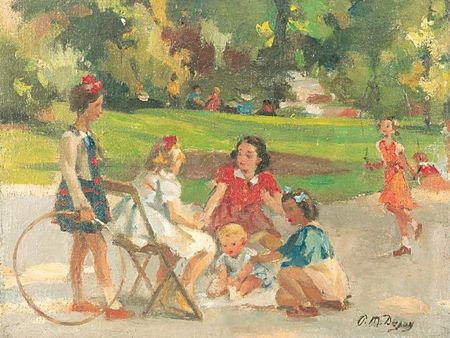Spelende_kinderen_in__Parc_Mon_eau_Parijs