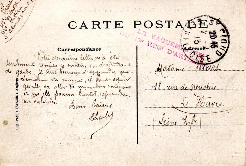 Saint-Cloud Caserne Sully Charles Wiart 62e batterie 02-02-1915 corresp