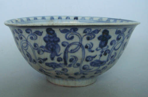 Chenghua/Hongzhi bowl with louts scroll interspersed with buddhist auspicious objects and sanskrit characters on inner mouth rim