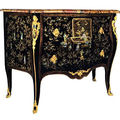 An important french mid-18th century louis xv ormolu-mounted chinese lacquer and mother of pearl commode. by matthieu criaerd