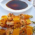 Brochettes de crevettes et orange a la plancha