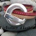 Rose et naturel pour les cuirs cousu de ce bracelet femme double tour de poignet !