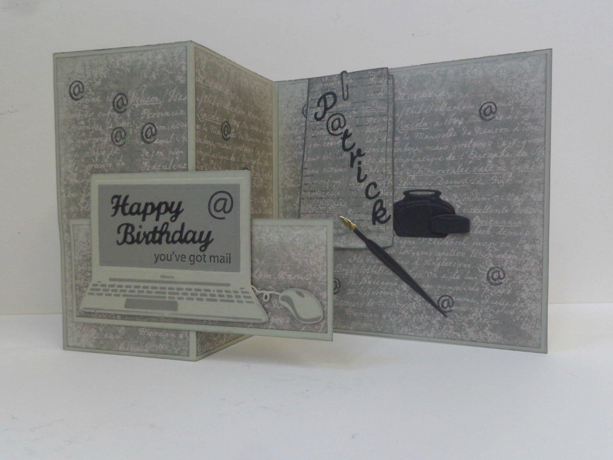 """Carte anniversaire """"ordinateur"""""""