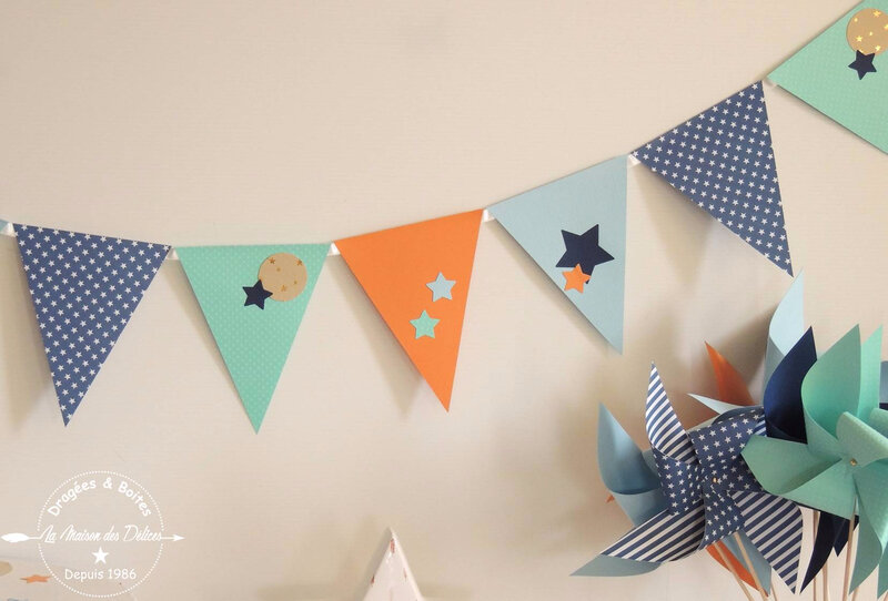 fanion moulin decoration bapteme theme etoile bleu mint corail