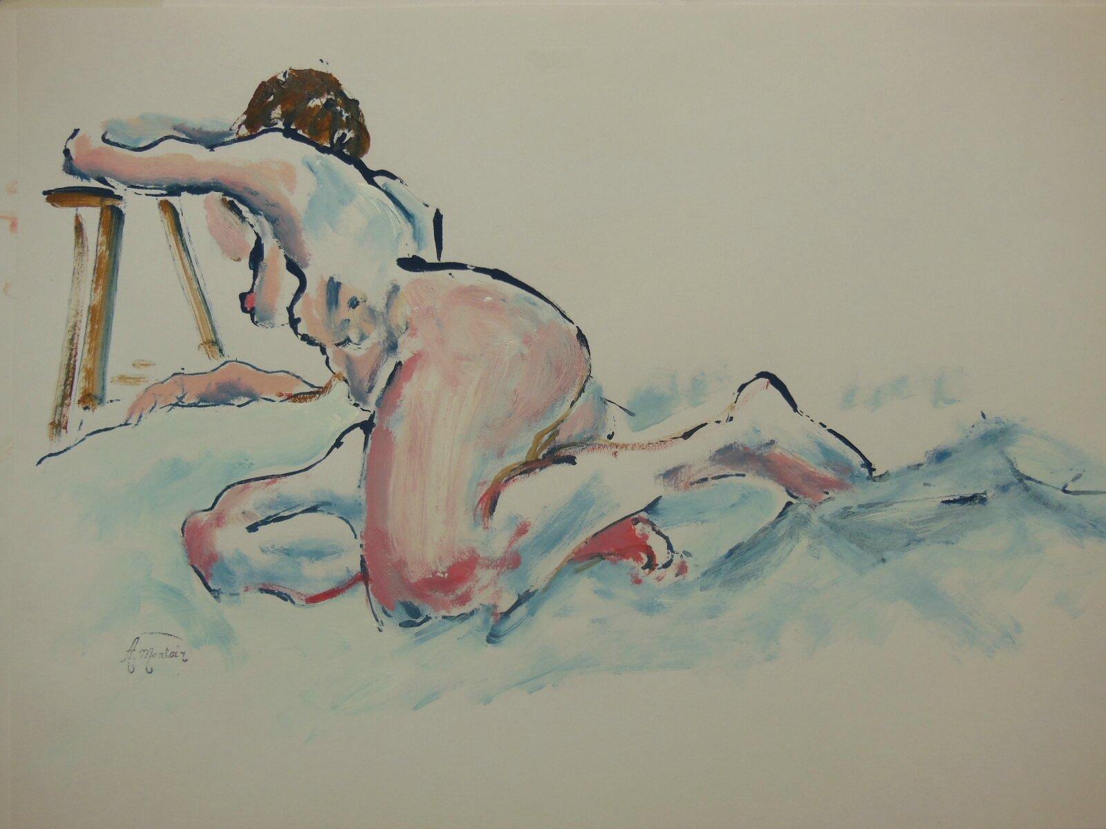 Peinture de nus feminin crayon gras et acrylique sur papier (9)