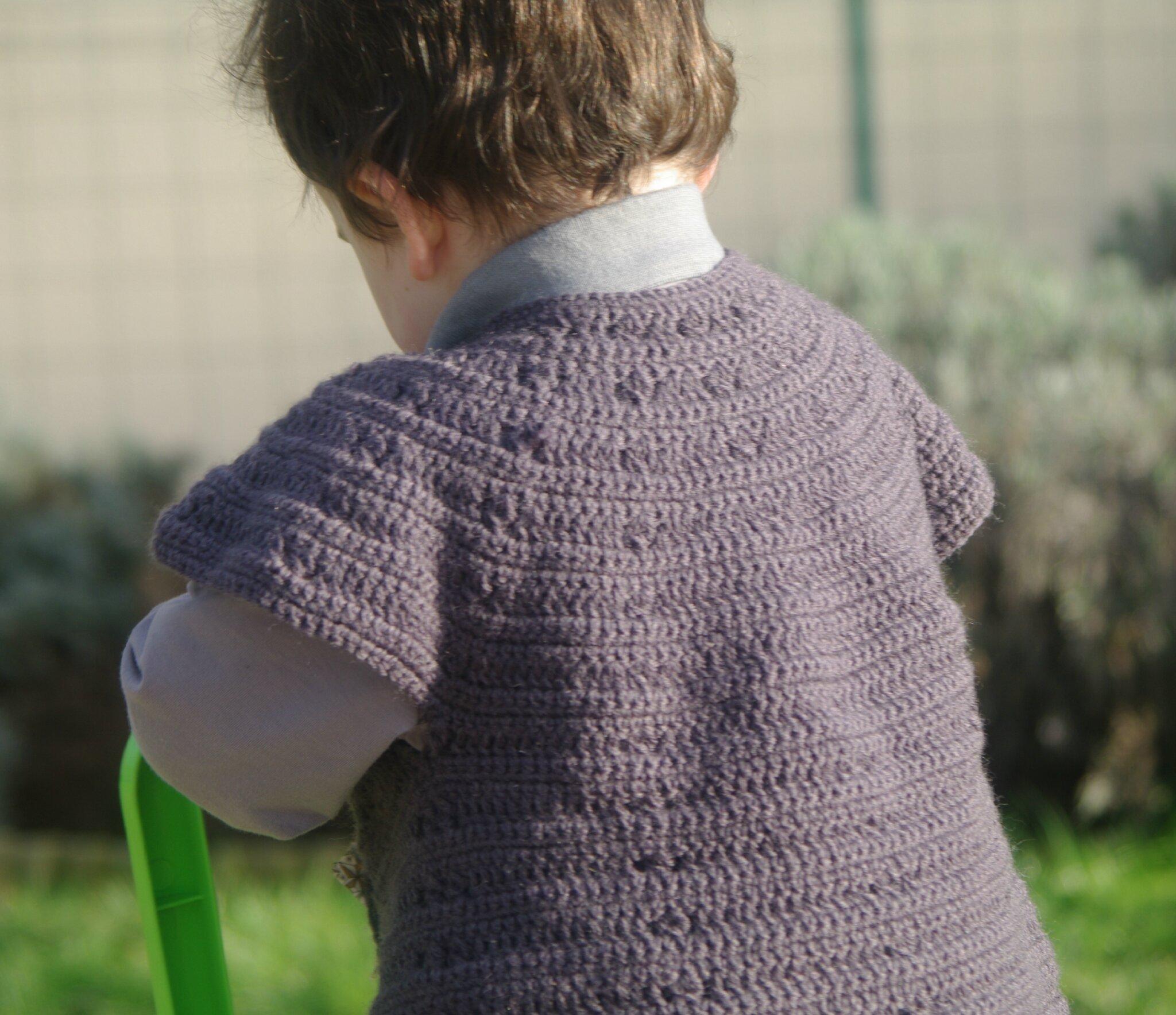 gilet rond top down au crochet
