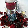 bougies flotantes avec rose rouge