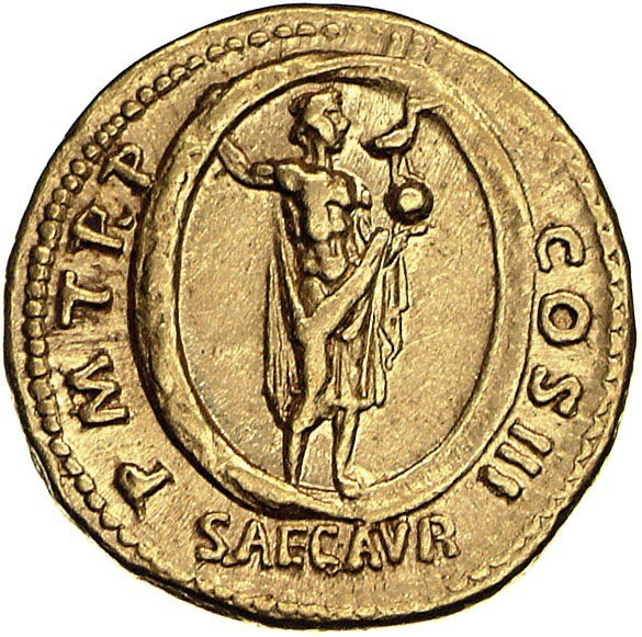 Aureus Issued by Hadrian (reverse) Aion Standing in Zodiac, Holding Phoenix and Globe