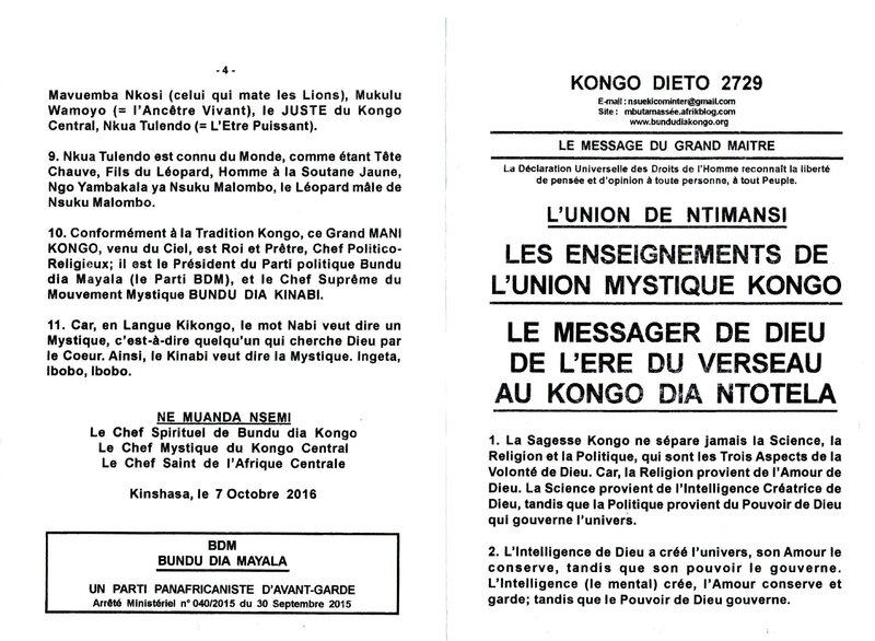 LE MESSAGER DE DIEU DE L'ERE DU VERSEAU AU KONGO DIA NTOTELA a