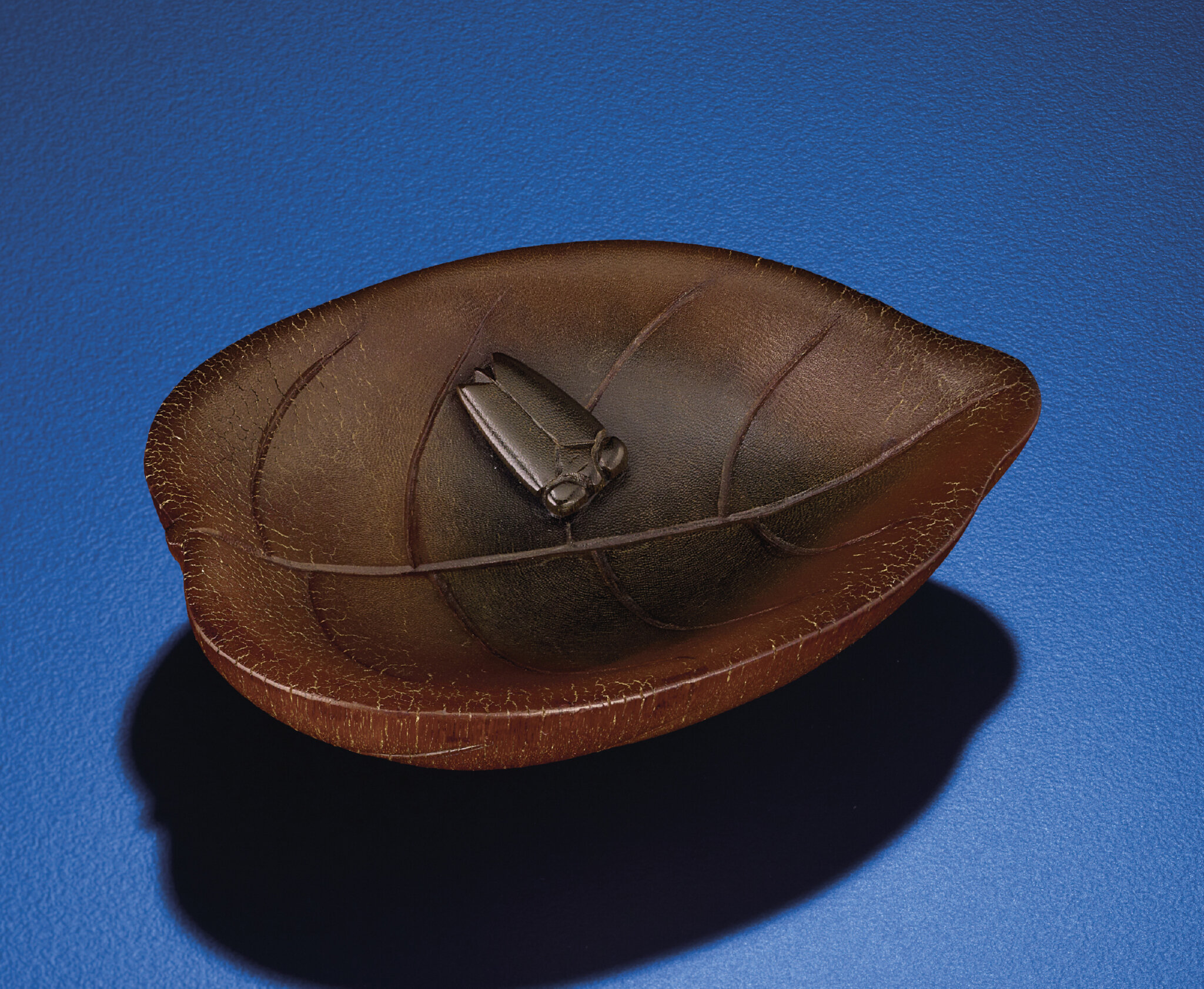 A rhinoceros horn leaf-shaped brushwasher, Qing dynasty, 17th-18th century