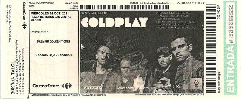 2011 10 Coldplay Las Ventas Billet
