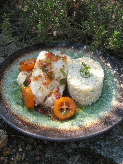 Églefin en vinaigrette de kumquat, risotto de quinoa au citron v