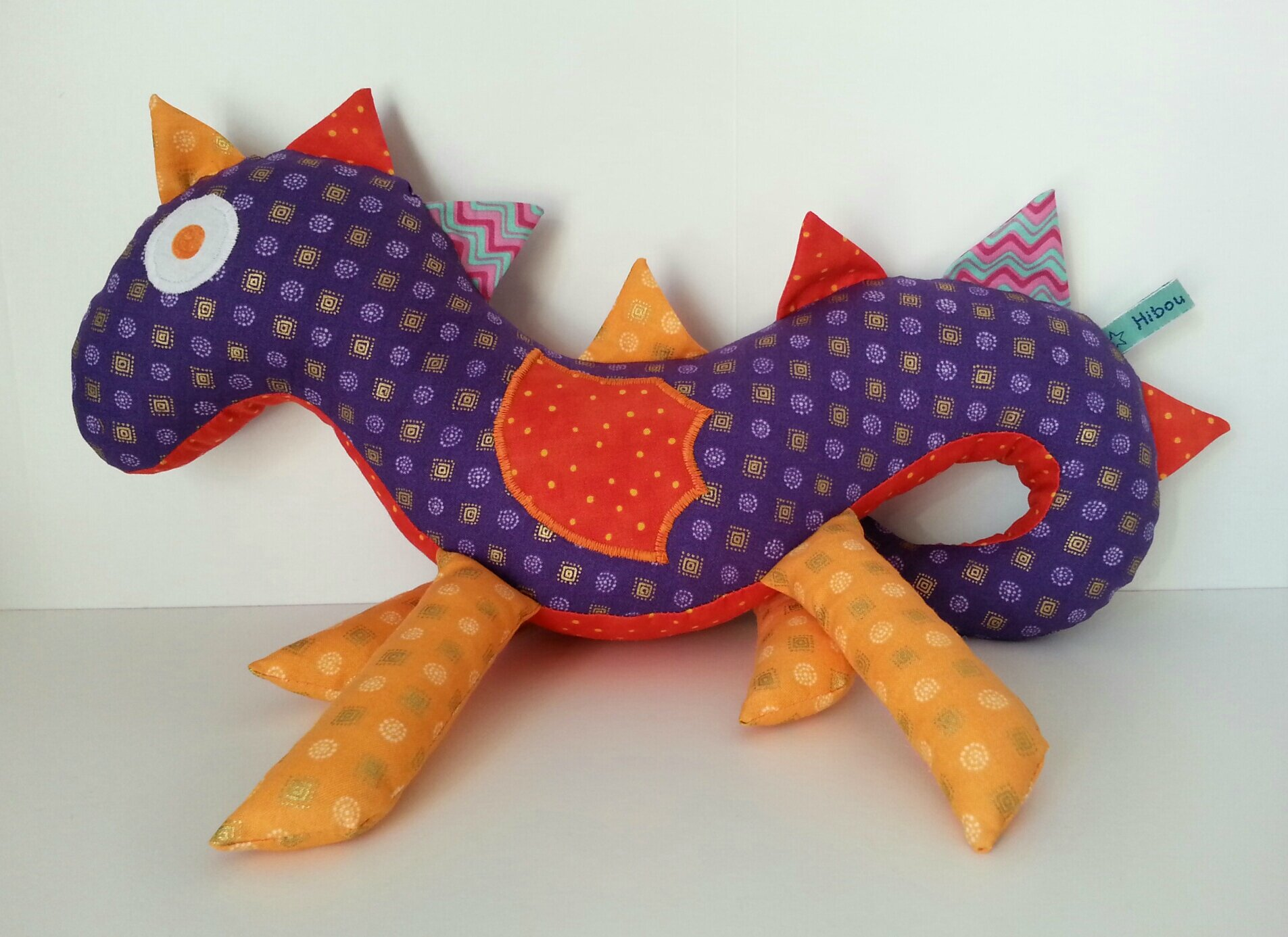 Doudou dragon violet et orange (3)