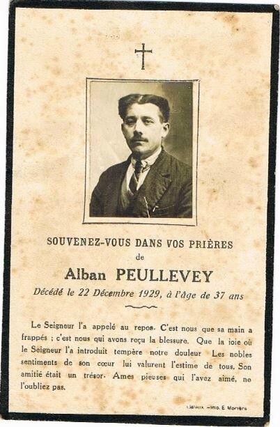 1929 Faire-part décès Alban Peullevey époux de Hélène QUEFELEC