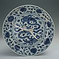 Blue-and-white plate with the design of double lions playing ball, Chenghua period (1465-1487)