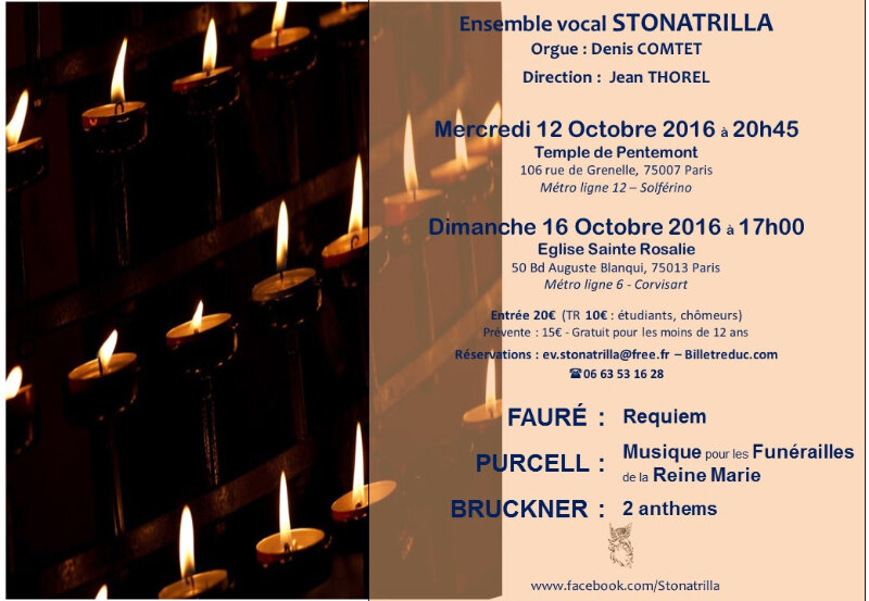 Concert Fauré, Purcell, Bruckner les 12 et 16 octobre