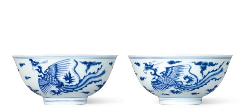 A rare pair of blue and white 'Phoenix' bowls, marks and period of Kangxi (1662-1722)