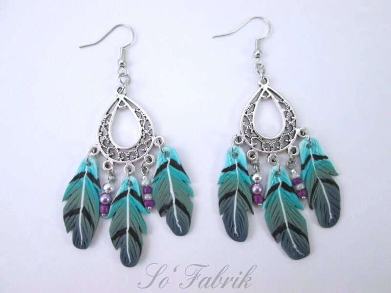 Plumes turquoise violet 4