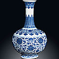 A ming-style blue and white bottle vase, qianlong underglaze blue six-character seal mark and of the period (1736-1795)