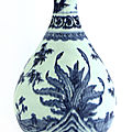 A chinese blue and white yuhuchun vase, 18th century