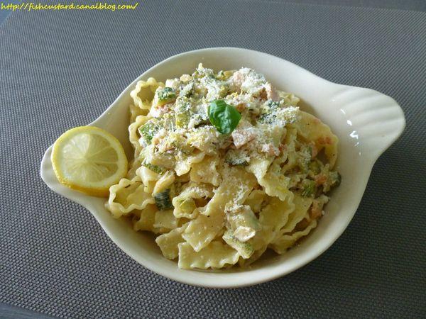 Mafaldine au saumon et courgettes, sauce mascarpone et citron (3)