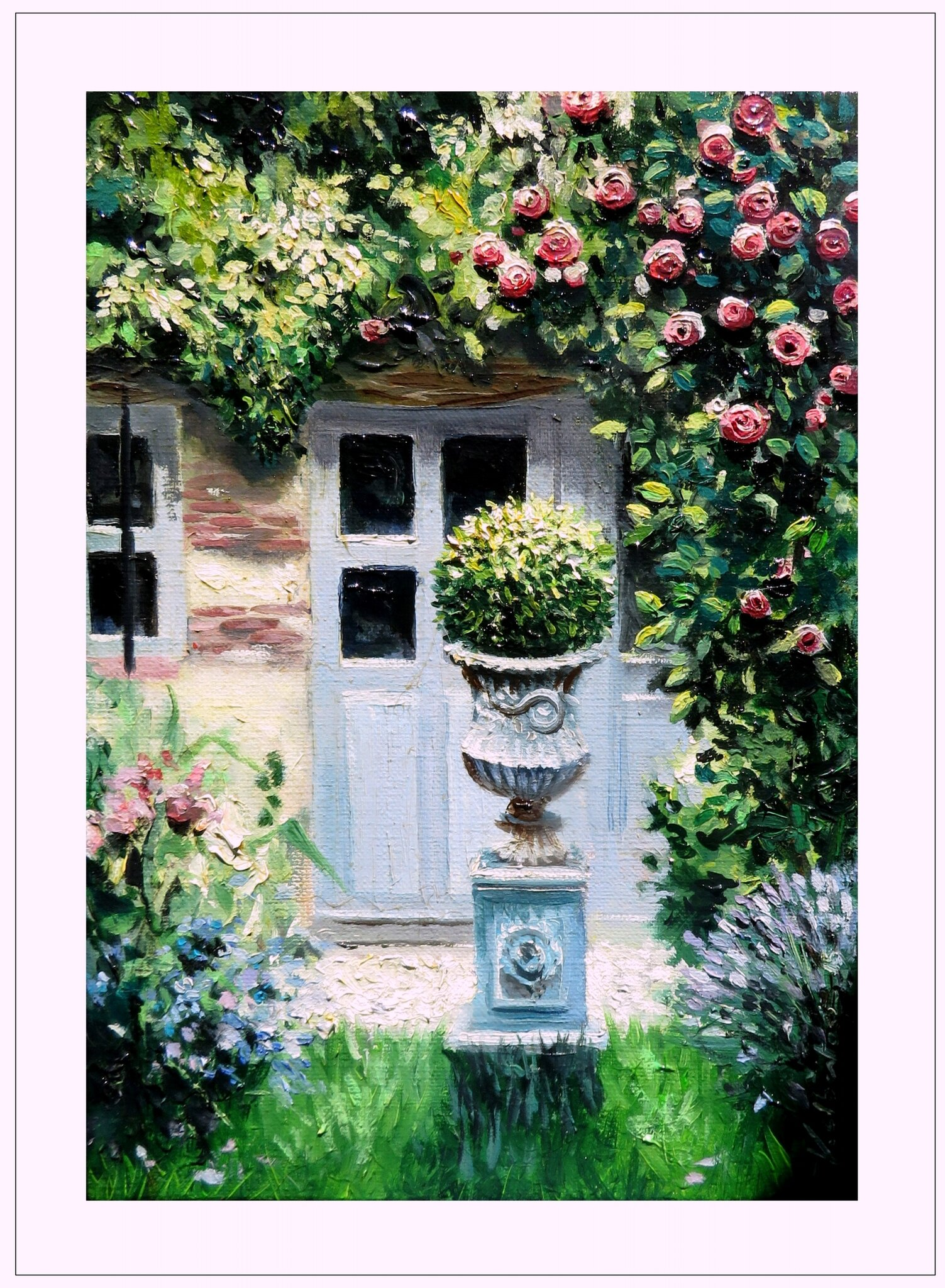 oil color painting garden and french house peiture à l'huile maison française valerie albertosi