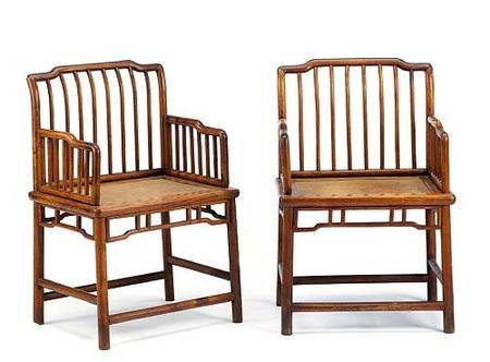 A_pair_of_huanghuali_and_mixed_wood_spindle_back_rose_chairs__meiguiyi_18th19th_Century__later_replacements