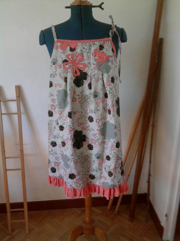 robe-tab fleuri noir pois orange