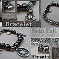 Bracelet Hématite, breloques