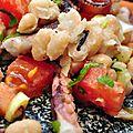 Salade chaude de haricots blancs et de poulpes