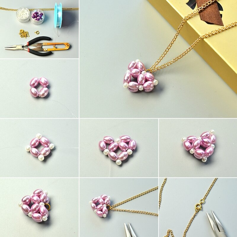 1080-Valentine's-Day-Project---How-to-Make-a-Purple-Pearl-Bead-Heart-Pendant-Necklace-with-Golden-Chain