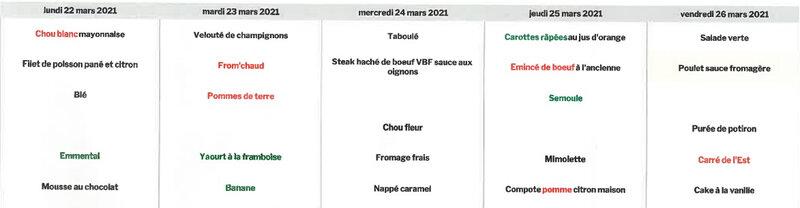 menus du 22 au 26 mars