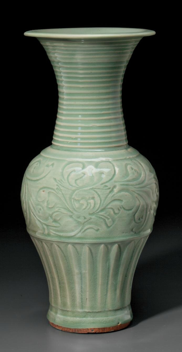 A Longquan celadon phoenix-tail vase, Late Yuan-Early Ming dynasty, early to mid-14th century