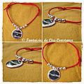 Bracelet nylon rouge médaille Amélie gravée