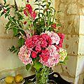 Hortensias et roses odorantes