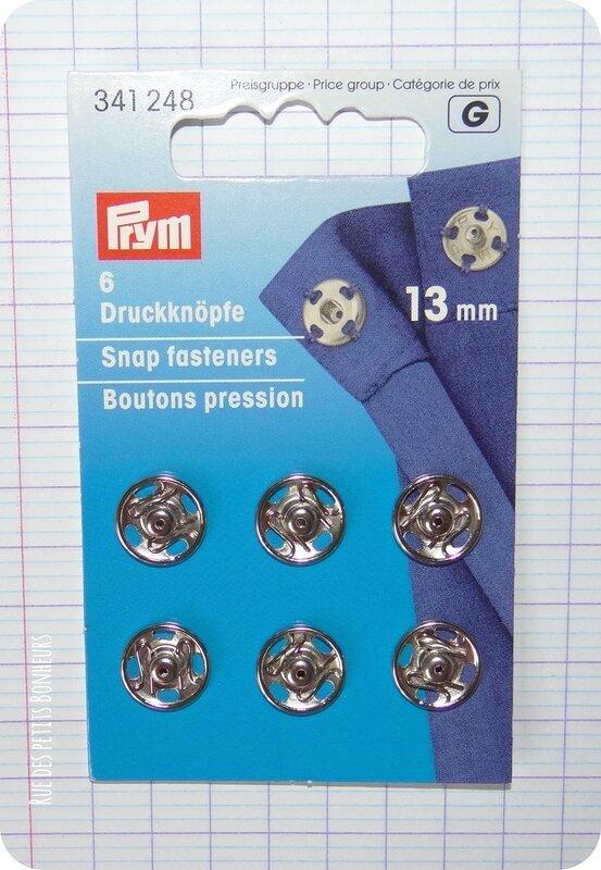 Bouton pression à coudre argent 13 mm