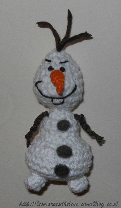 Olaf Reine des neige crochet tuto amigurumi face