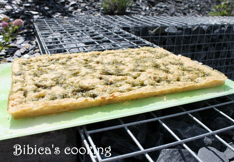 Foccacia basilic & ail des ours au Cook'in face