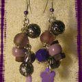 Boucles mauve violet pendantes (BO94)