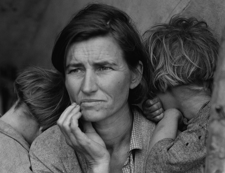 """Dorothea Lange. """"A Destitute Mother: The Type Aided by the WPA"""""""