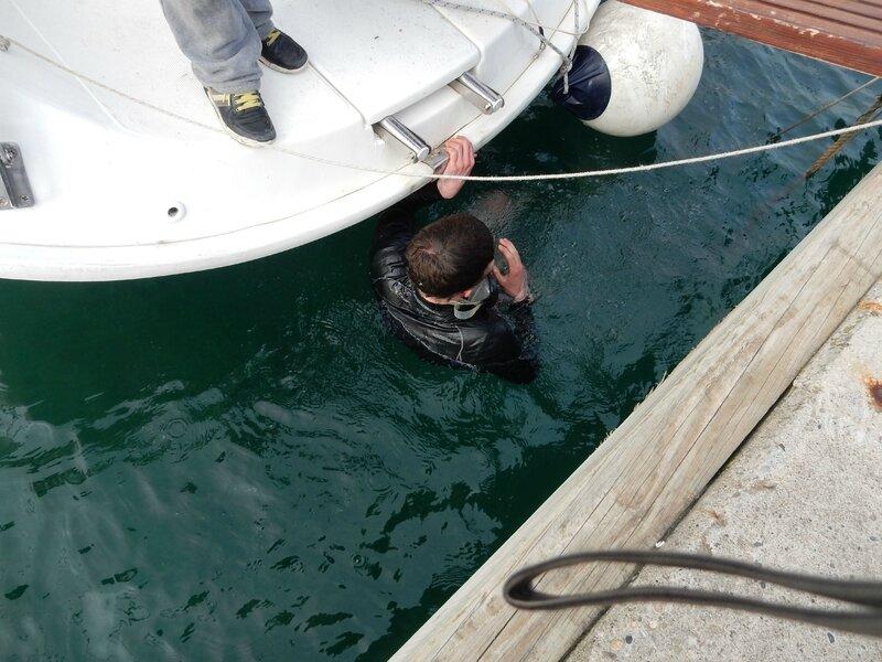 Pierre s'apprête à plonger à Vodice 170217 3
