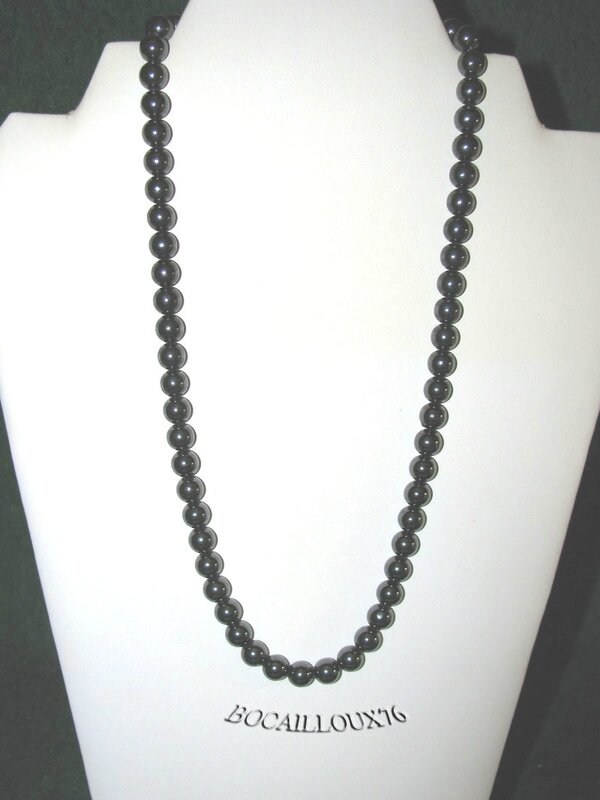 Collier HEMATITE 4 Perles 8,5mm (2)